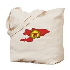 Kyrgyzstan Flag Map Tote Bag