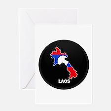 Flag Map of Laos Greeting Card