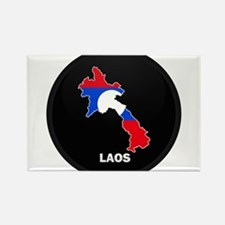 Flag Map of Laos Rectangle Magnet