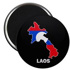 Flag Map of Laos Magnet