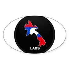 Flag Map of Laos Oval Decal