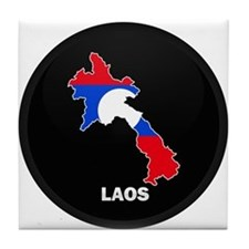 Flag Map of Laos Tile Coaster