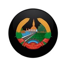 "Coat of Arms of Laos 3.5"" Button"