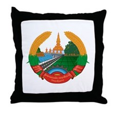 Laos Coat of Arms Throw Pillow