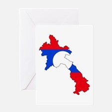 Laos Flag Map Greeting Card