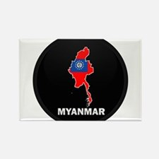 Flag Map of myanmar Rectangle Magnet
