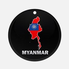 Flag Map of myanmar Ornament (Round)