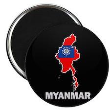 Flag Map of myanmar Magnet