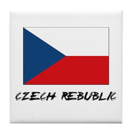 Czech Rebublic Flag Tile Coaster