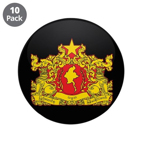 "Coat of Arms of myanmar 3.5"" Button (10 pack)"
