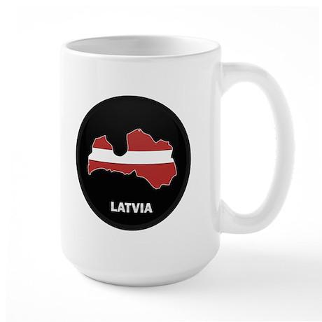 Flag Map of Latvia Large Mug