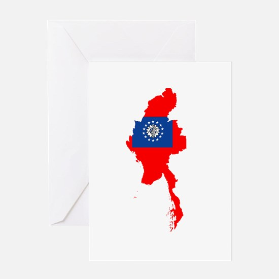 myanmar Flag Map Greeting Card