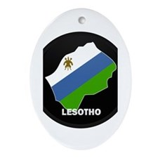 Flag Map of lesotho Oval Ornament