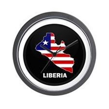 Flag Map of LIBERIA Wall Clock