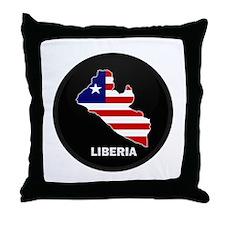 Flag Map of LIBERIA Throw Pillow