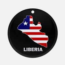 Flag Map of LIBERIA Ornament (Round)