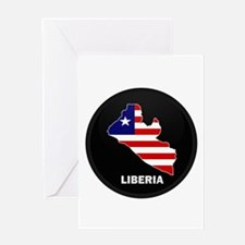Flag Map of LIBERIA Greeting Card