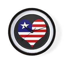 I love LIBERIA Flag Wall Clock