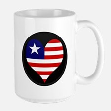 I love LIBERIA Flag Large Mug