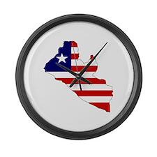 LIBERIA Flag Map Large Wall Clock