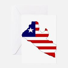 LIBERIA Flag Map Greeting Card