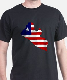 LIBERIA Flag Map T-Shirt