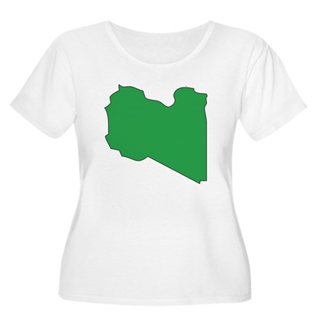Libya Flag Map Women's Plus Size Scoop Neck T-Shir