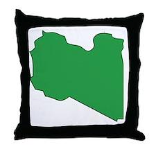 Libya Flag Map Throw Pillow