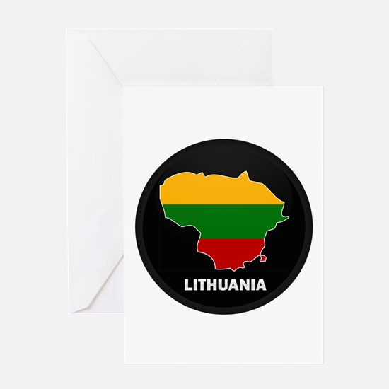 Flag Map of Lithuania Greeting Card