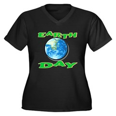 Earth Day 5 Women's Plus Size V-Neck Dark T-Shirt