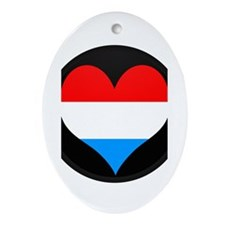 I love LUXEMBOURG Flag Oval Ornament