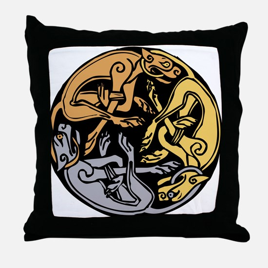 Celtic Chasing Hounds 1 Throw Pillow