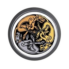 Celtic Chasing Hounds 1 Wall Clock