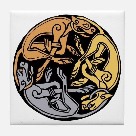 Celtic Chasing Hounds 1 Tile Coaster