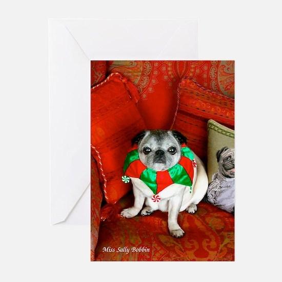 Cute Pugs christmas Greeting Cards (Pk of 20)