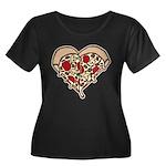 Pizza Heart Women's Plus Size Scoop Neck Dark T-Sh