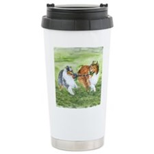 Shetland Sheepdogs At Play Travel Mug