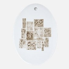 Animal Tracks Collage Oval Ornament