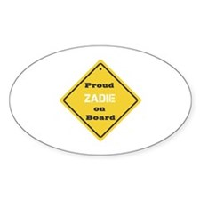 Proud Zadie on Board Oval Decal