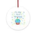 Cupcake First Birthday (Blue) Ornament (Round)
