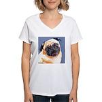 Blue Boy Pug Puppy Women's V-Neck T-Shirt