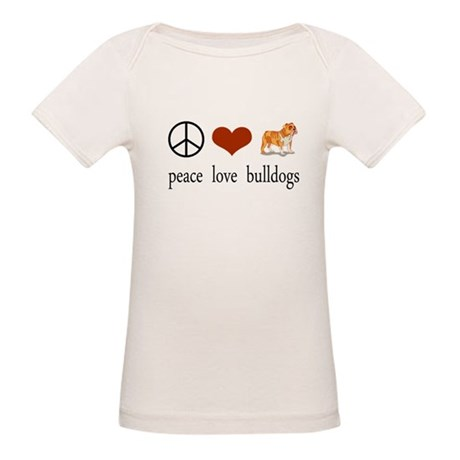 Peace Love Bulldogs Organic Baby T-Shirt
