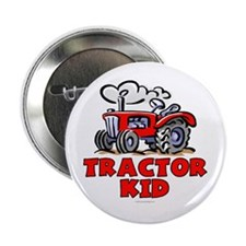 """Red Tractor Kid 2.25"""" Button"""