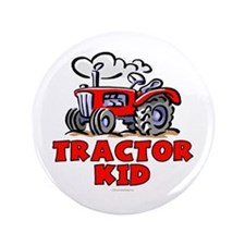 "Red Tractor Kid 3.5"" Button"