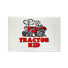 Red Tractor Kid Rectangle Magnet (10 pack)