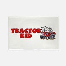 Red Tractor Kid Rectangle Magnet