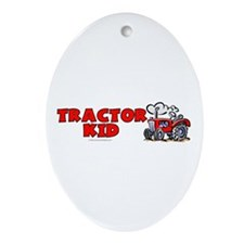 Red Tractor Kid Oval Ornament