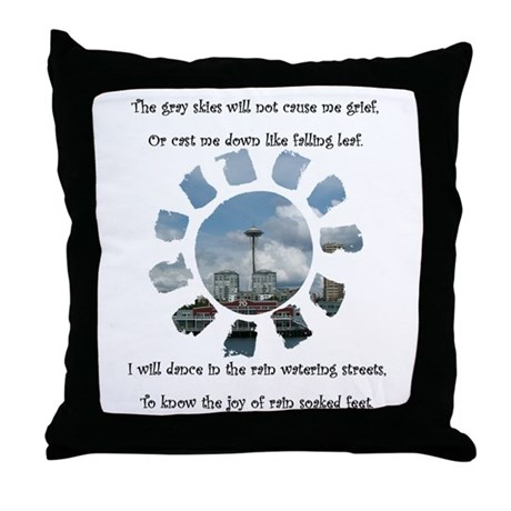 Rain in Seattle Poetry Throw Pillow