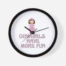 Brunette Cowgirl Wall Clock