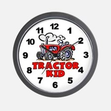 Red Tractor Kid Wall Clock